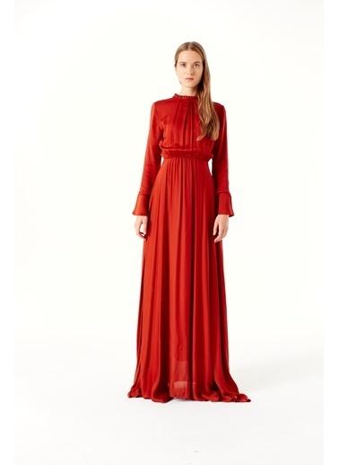 Mizalle Pile Yaka Detaylı Elbise Kiremit